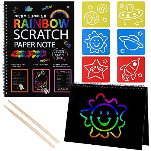 Czemo Fogli di Disegni Scratch Art Set, Arcobaleno Scratch Notebook per Bambini 2 Pacchi, Giochi Creativi Bambini con 6 Stencil per Pittura e 2 Stilo in Legno