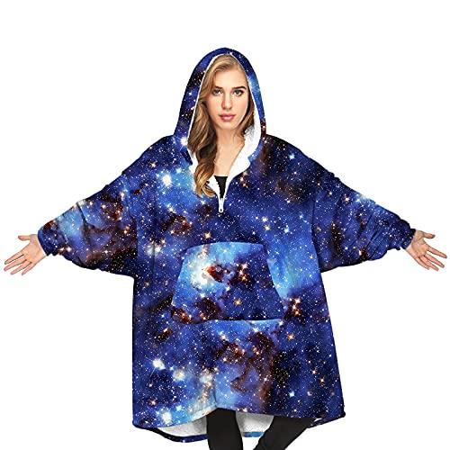 QINGXIN Oversized Hoodie Blanket, Wearable Blanket Sweatshirt, Hoodie Blanket Hoodie Star Digital, Gaint Fluffy Jumper Reversible (B1-Blue Brown-Adult, OneSize)
