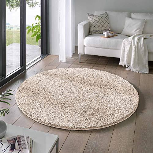 Taracarpet Shaggy Teppich Wohnzimmer Venezia Hochflor Langflor Teppiche modern Creme 200 cm rund