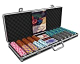 Bullets Playing Cards - Large Poker Case Deluxe Poker Set with 500 Clay Poker Chips Carmela, Poker Guide,...
