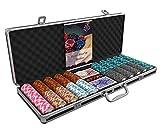 Bullets Playing Cards - Großer Pokerkoffer Deluxe Pokerset mit 500 Clay Pokerchips Carmela, Poker-Anleitung, Dealer Button und Bullets Plastik Pokerkarten