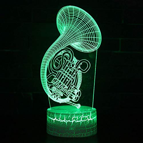 Musikinstrument Horn Thema 3D Optische Illusions Lampen, LED Nachtlicht Mit 16 Farben Ändern Und Fernbedienung, Schlafzimmer Dekoration Tischlampe, Geburtstags Und Weihnachtsgeschenke Für Kinder