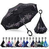 ZOMAKE Inverted Stockschirme, Innovative Schirme Double Layer, Winddicht Regenschirm, Freie Hand,Umgedrehter Regenschirm mit C Griff für Auto Outdoor (Kirschblüten)