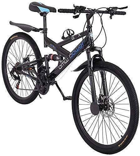 2021 - Bicicleta de montaña de 26 pulgadas para adultos, de acero al carbono, 21 velocidades, bicicleta completa con suspensión completa para MTB, bicicleta para hombre y mujer