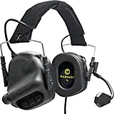 Earmor Tactical Headset Hunting & Shooting Earmuffs with Microphone, Sound Amplification, Nato TP120 Jacket, Black