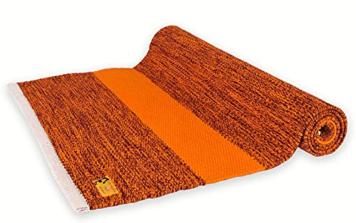 Chin Mudra Tapis de Yoga Taj 100% Coton Bio - 2 m x 66 cm x 5mm - Bordeaux/Safran