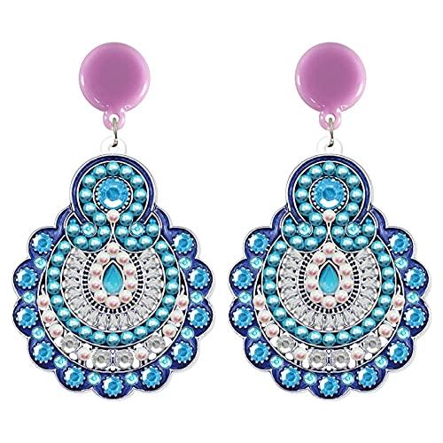 XIALIMY Joyería 5D Bricolaje Pendientes de Diamante for Mujeres Accesorios de joyería de Boda Simple Moda Dot Pendiente de Mosaico Set for niñas Regalo (Color : EH03)