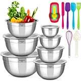 Mixing Bowls with Lids, KAQINU Stainless Steel Metal Nesting Mixing Bowls Set (13 pcs)for Space Saving Storage, Easy Grip & Stability Design Versatile for Cooking, Baking, Prepping