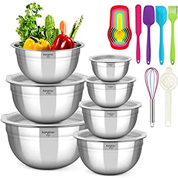 Mixing Bowls with Lids KAQINU Stainless Steel Metal Nesting Mixing Bowls Set  13 pcs for Space Saving Storage Easy Grip & Stability Design Versatile for Cooking Baking Prepping