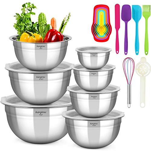 Mixing Bowls with Lids KAQINU Stainless Steel Metal Nesting Mixing Bowls Set 13 pcsfor Space Saving Storage Easy Grip Stability Design Versatile for Cooking Baking Prepping