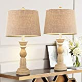 Oneach Table Lamps Set of 2 for Living Room Bedside Desk Lamps Vintage Bedroom Lamps for Study Kids Room Office White Washed 23.5 Inches