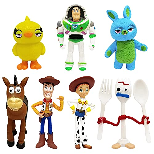 Woody Cake Topper, NALCY 7 Pcs Buzz Lightyear e Woody Cake Toppers, Mini Woody Figurine, Jessie Bambole, Cake Toppers per Bambini Baby Party Birthday Party Cake Decor Supplie
