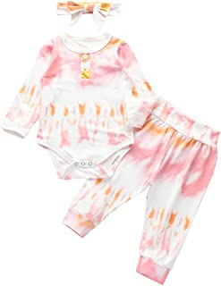 3PC Infant Baby Girl Tie Dye Clothes Knit Ruffle Romper+Long Pants+Headband Pajamas Fall Outfit Set