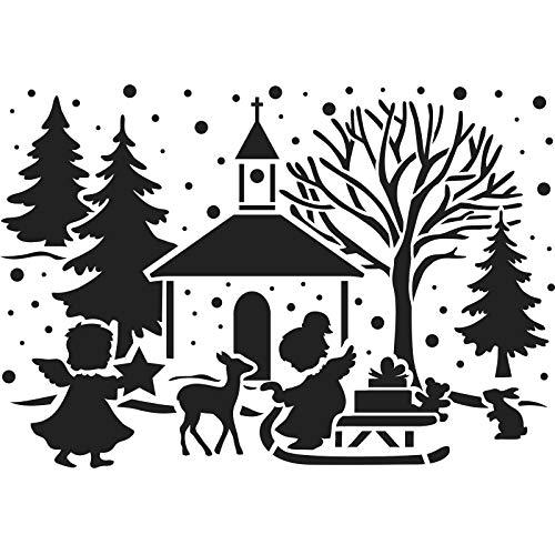 Ideen mit Herz Laser-Kunststoff-Schablone | Fenster-Schablonen | DIN A4 | Weihnachten & Winter | ideal für Wandgestaltung, Textilien, Papier, Fensterbilder selber gestalten (Kirche & Engelchen)