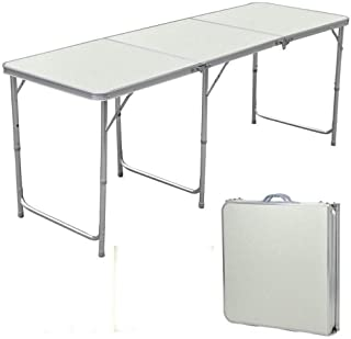 Lovinland Folding Table Portable Camping Table 3/4/ 6 Ft Aluminum Foldable Table for Picnic Party Dining (6 Ft)