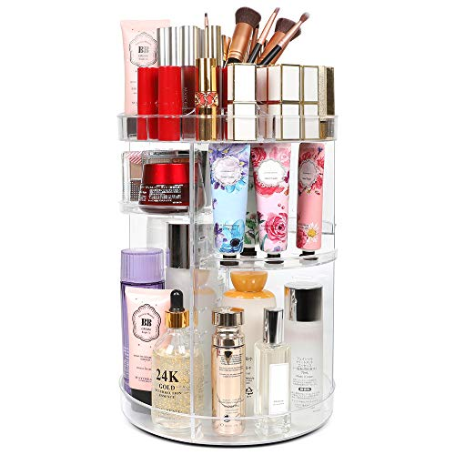 Kootek Rotating Makeup Organizer - 360 Spinning Makeup Storage Rack Adjustable Swivels Cosmetic Organizers Large Capacity Holder with 4 Layers Trays for Bathroom Bedroom Desser Room (Clear)