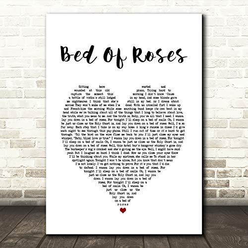 Bed of Roses hart lied lyrische citaat muziek cadeau muur kunst poster print Medium A4