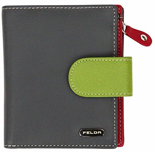 Felda Felda, Leder Damen Geldbörse Portemonnaie Purse Geldbeutel mit RFID Blockierung Multicolor Grau Multi