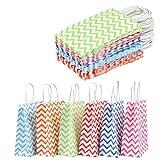 WOWOSS 42 Bolsas de papel Kraft de Color con Asas para Regalos de Dulces o Bodas, Bolsa de Papel Artesanal 120g 6 Colores con Fondo