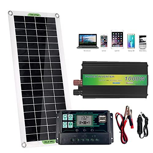 PEALOV Paneles Solares Mono, Panel Solar De 20 W + Inversor Solar De 1000 W + Controlador Solar Autoadaptable De 100 A + Cargador De Coche Para Exteriores/Hogar/Aparatos De CA Para VehíCulos