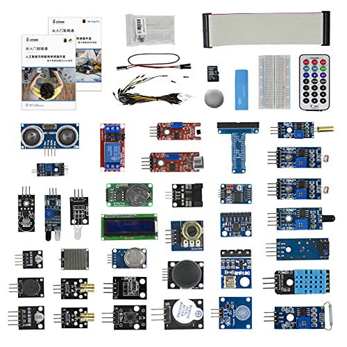 Robot Kit 37 Modules Kit Electronics Projects Starter Kit for Raspberry Pi 4B with Sensors,Solderless Breadboard,Projects with Detailed Tutorials,Learn Electronics and Programming for Beginners Kids