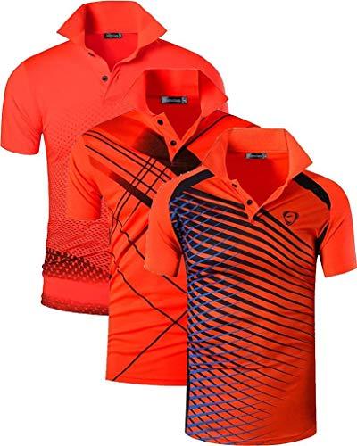 Jeansian Herren-Poloshirt, schnelltrocknend, für Sport im Freien wie Golf, Tennis, Bowling, passend LSL195, 3 Stück - - Groß