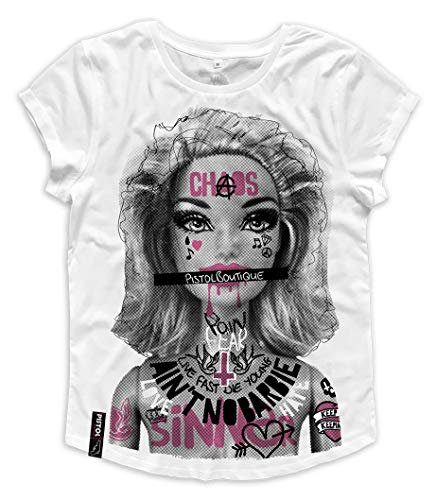 Pistol Boutique Camiseta de manga enrollada para mujer, diseño de graffiti tatuajes Ain't No Barbie, informal, cuello redondo, color blanco