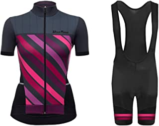 Uglyfrog Newest WDTZ01 MTB Short Sleeve Cycling Jersey + Short Bib Tight Sets with Gel Pad Women Breathable Outdoor Sports Wear Summer Bicycle Triathlon Top Quick Dry