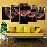LFLONG Estampes sur Toile, Wall Art Poster 5 Panneau Mural décor Exquis Verre de vin Rouge Art HD, pour la Maison décorations décorations murales (Pas de Cadre),L