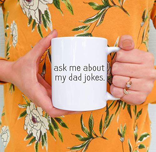 Lplpol Taza de café con texto en inglés «Dad Mug Ask Me About My Dad Jokes», taza de café papá, regalo para el día del padre, regalo para papá, regalo de Navidad, nuevo papá, divertido 325 ml