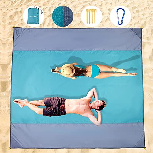 Wzlemom picknickdecke wasserdicht, 210x200cm Extra groß, Stranddecke Sandfrei, Strandmatte Mit 4 Ablageecken Stranddecke Wasserdicht, Campingdecke Ultraleicht kompakt für den Strandurlaub, Campen