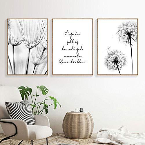 Cuadros en blanco y negro Pintura de lienzo de pintura de lienzo de diente de león Impresión del arte Nordic Dandelion Poster Arte de la pared Dormitorio Sin marco