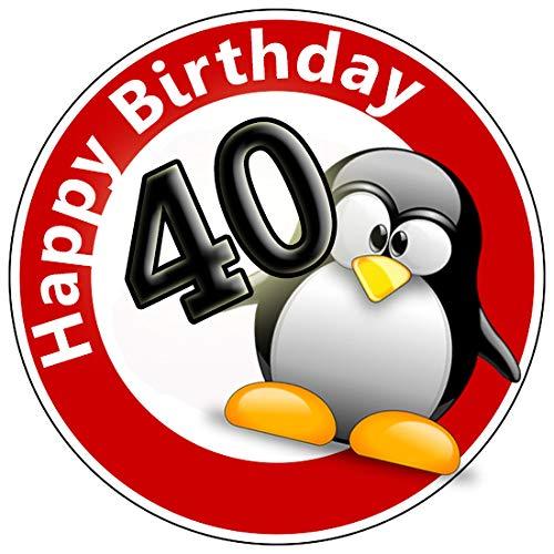 KnBo Tortenaufleger Tortenfoto Aufleger Foto Bild Geburtstag Happy Birthday Schild 40 Jahre Pinguin rund ca. 20 cm *NEU*OVP*