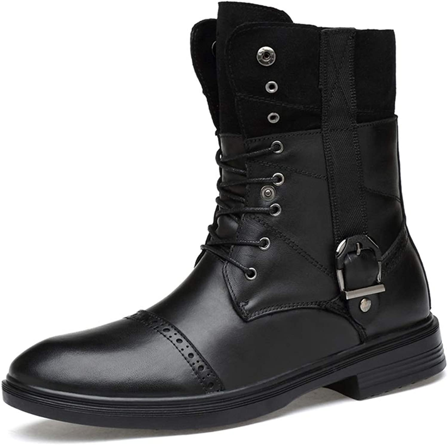 Hetai for Men Combat Boots Fleece Inside High Top Ankle shoes Genuine Leather Decor with Metal Bukle