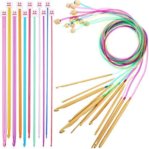 23 Pieces Tunisian Crochet Hooks Set 3 10 mm Cable Bamboo Knitting Needle with Bead Carbonized product image