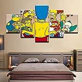 QZWXEC Los Simpsons Marge Flashes Cartoon/Cuadro sobre Lienzo 5 Piezas - Modernos DecoracióN de Pared Hogar Arte De Cartel - Ancho: 150Cm, Altura: 80Cm - Listo para Colgar - En Un Marco