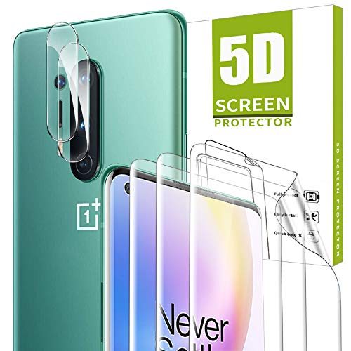 Price comparison product image GESMA for Oneplus 8 Pro Screen Protector and Camera Lens Protector,  [3 Screen Protectors+2 Camera Protectors] Bubble Free Scratchproof TPU Film Screen Protector for Oneplus 8 Pro(NOT FIT WITH ONEPLUS 8) (Clear)