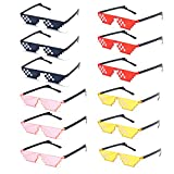 Binshang 12 Pack 4 colors Thug Life Sunglasses Mosaic Glasses farmeless sunglass Party Favors Eyewear 6.2-0.6-6 inch