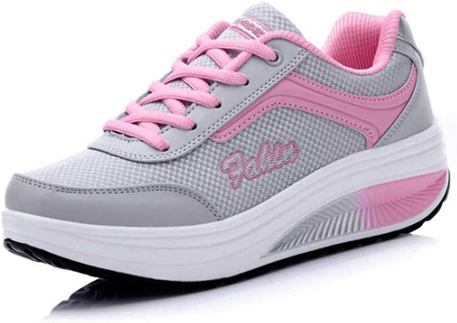 ASO-SLING Women's Air Mesh Wedge Sneakers Height Increasing Platform Casual Lace Up Outdoor Fitness Sport Walking shoes