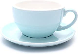 Coffeezone Cappuccino Barista Latte Art Cup and Saucer New Bone China for Coffee Shop (Glossy Light Blue, 8.5 oz)