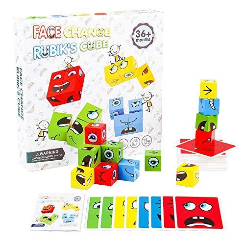 AIWEI Puzzle Bois Enfant Jeux Montessori Cube D'expression Blocs Jeu de Construction Logique Jouets Enfants Intellectuelle Parent-Enfant Jeux Éducatif