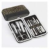 Set de manicura 12pcs de Acero Inoxidable de uñas Herramienta del Cuidado de los Juegos de manicura Set y pedicura Kit Pinzas oído Escoja Utilidad Clipper Kit (Color : Golden Black)