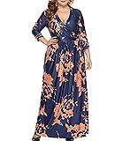 Eternatastic Women Plus Size Maxi Dress Floral Wrap V-Neck Long Dress 3XL Navy