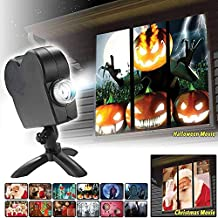 Window Projector Light, 12 Movies Festival LED Projection Lamp, Outdoor Garden Decoration for Halloween/Christmas, Enhance The Festive Atmosphere