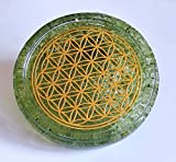 ZZYBIA LARGE 4' Olivine Peridot Crystals Flower Of Life Coaster Water Charging Plate Energy Dome