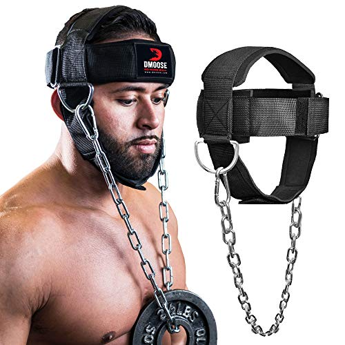 DMoose Fitness Neck Harness for Weight Lifting, Resistance Training, or Injury Recovery with Long Steel Chain, Improve Muscle Strength (Black, with Support Strap)
