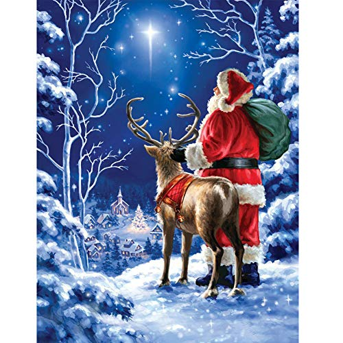 DIY 5D Diamond Painting Kit for Adults Father Christmas, JLHATLSQ Full Drill Round Crystal Embroidery Cross Stitch Kits Art for Home Decor(12X16inch)