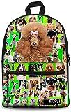 Mochilas Linda de la Escuela Bolsas Perro de los niños Mochilas Puzzle patrón Mochilas Escolares (Color : Poodles)