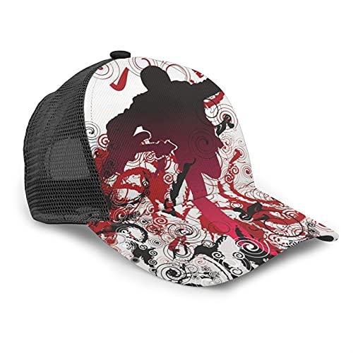 Gorra de béisbol unisex con diseño de guitarra en espiral para verano, ajustable, empalme de hip hop, color negro