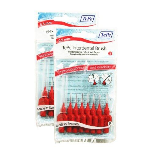 TePe Original Bürste für die Zahnzwischenräume, 0,5mm Größe, 2Stück pro Packung, insgesamt 16